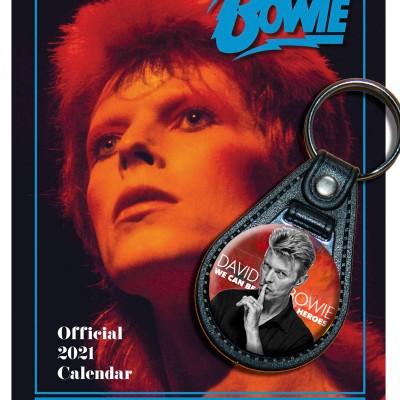 Bundle:s David Bowie, Schlüsselanhänger + Kalender 2021 + gratis Familienplaner 2021