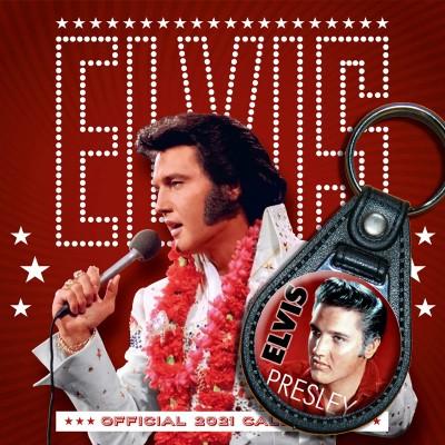 Bundle: Elvis Presley, Schlüsselanhänger + Kalender 2021 + gratis Familienplaner 2021