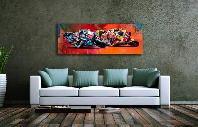 Wandbild Fabio Quatararo&Marc Marquez im Duell, 5 mm Acryl, 1200 x 400 mm