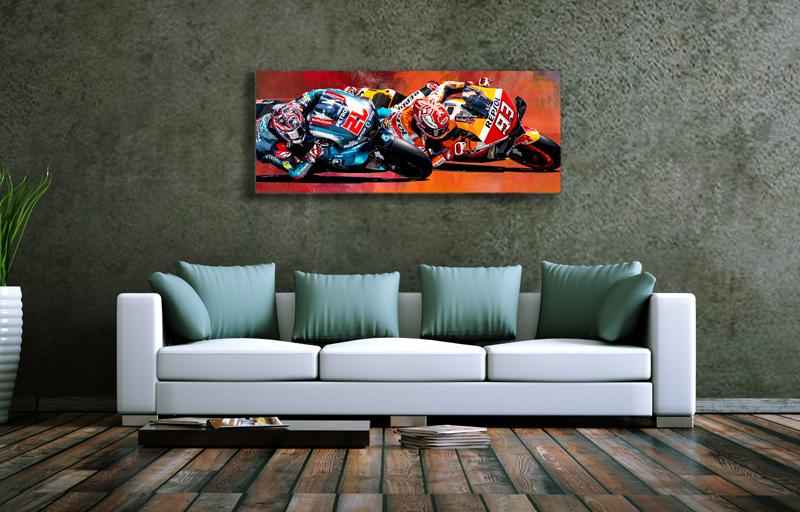 Wandbild Fabio Quatararo&Marc Marquez im Duell, Leinwand, 1000 x 400 mm