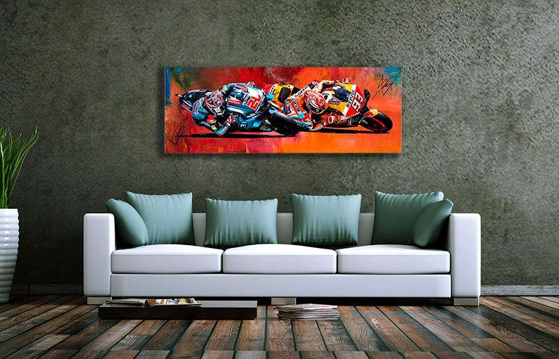 Wandbild Fabio Quatararo&Marc Marquez im Duell, 5 mm PVC-S, 1200 x 400 mm