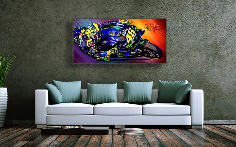 Wandbild Valentino Rossi, 5 mm Acryl, 1200 x 570 mm