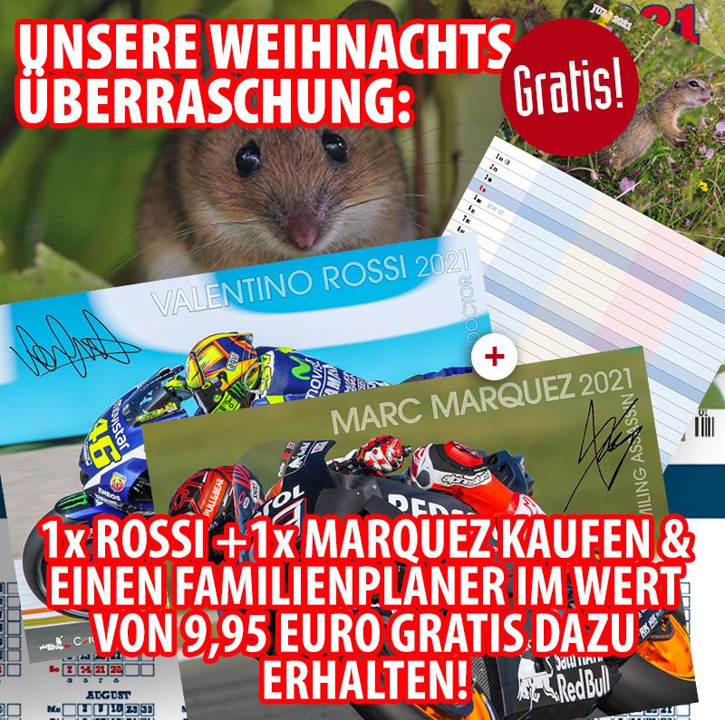 Bundle: Ein Marc Marquez 2021 u. ein Valentino Rossi 2021 + gratis Familienplaner 2021